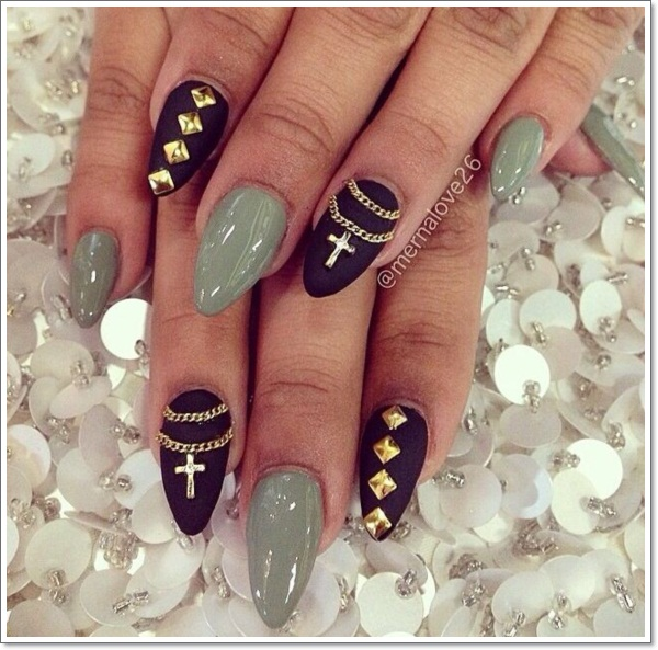 Black Matte Studded Sti Nail Art