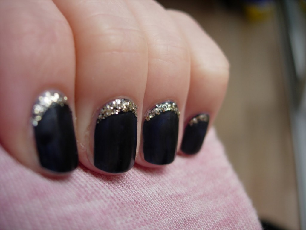 Black Nails With Gold Glitter Reverse Tip Nail Art