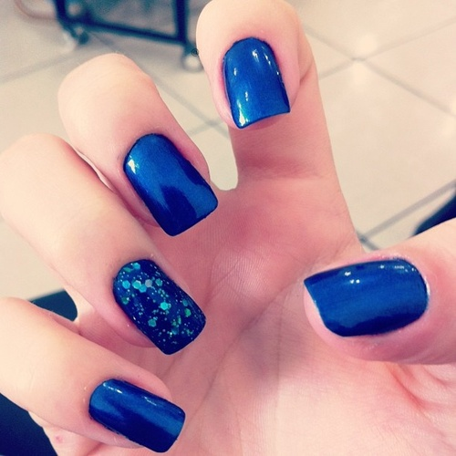 Electric Blue Nail Art Design Idea
