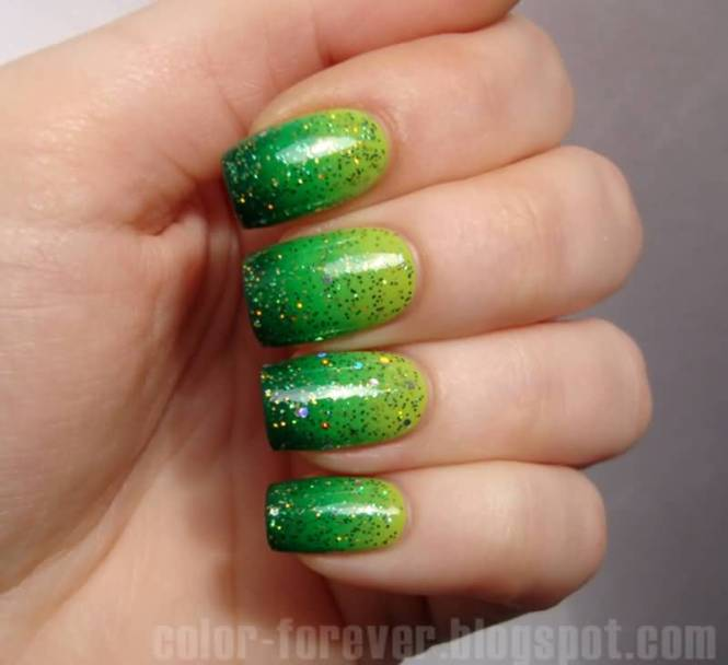 Green Yellow And Pink Grant Candy Nail Art