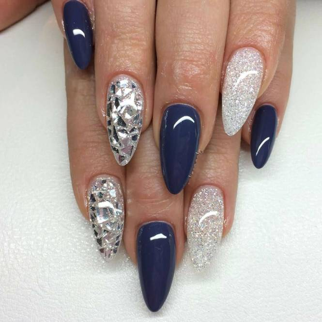 Nail Art In Blue N White Colour Best With