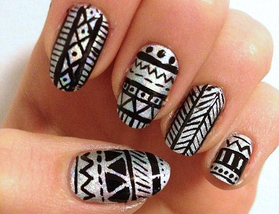 Silver And Black Holo Tribal Nail Art
