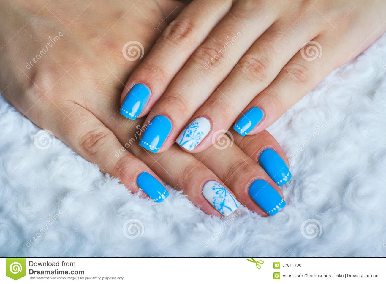 Simple Blue Nails With Accent Dandelion Flower Nail Art