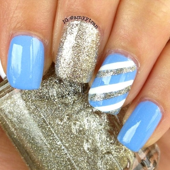 Sky Blue With Silver And White Stripes Design Nail Art