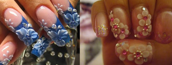 Two Amazing 3d Flowers Nail Art