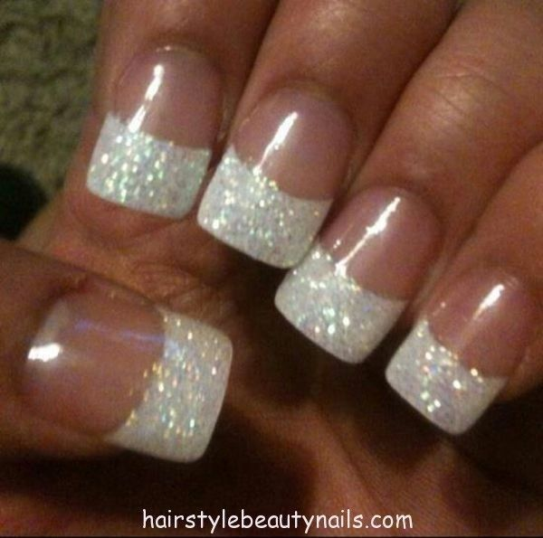 White Tip Glitter Gel Nail Art