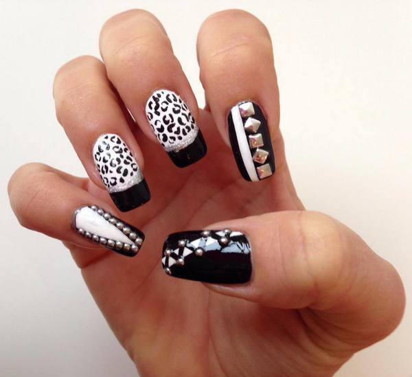 Black And White Leopard Print Nail Art With Caviar Be Design Idea