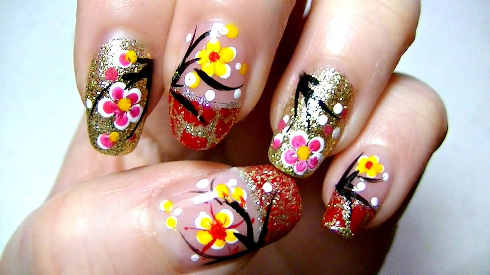 Glitter Chinese Flowers Nail Art