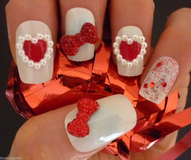 Pearls Design Red Heart Nail Art With 3d Bow Idea