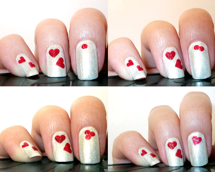 Silver Nails With Red Hearts Nail Art Idea