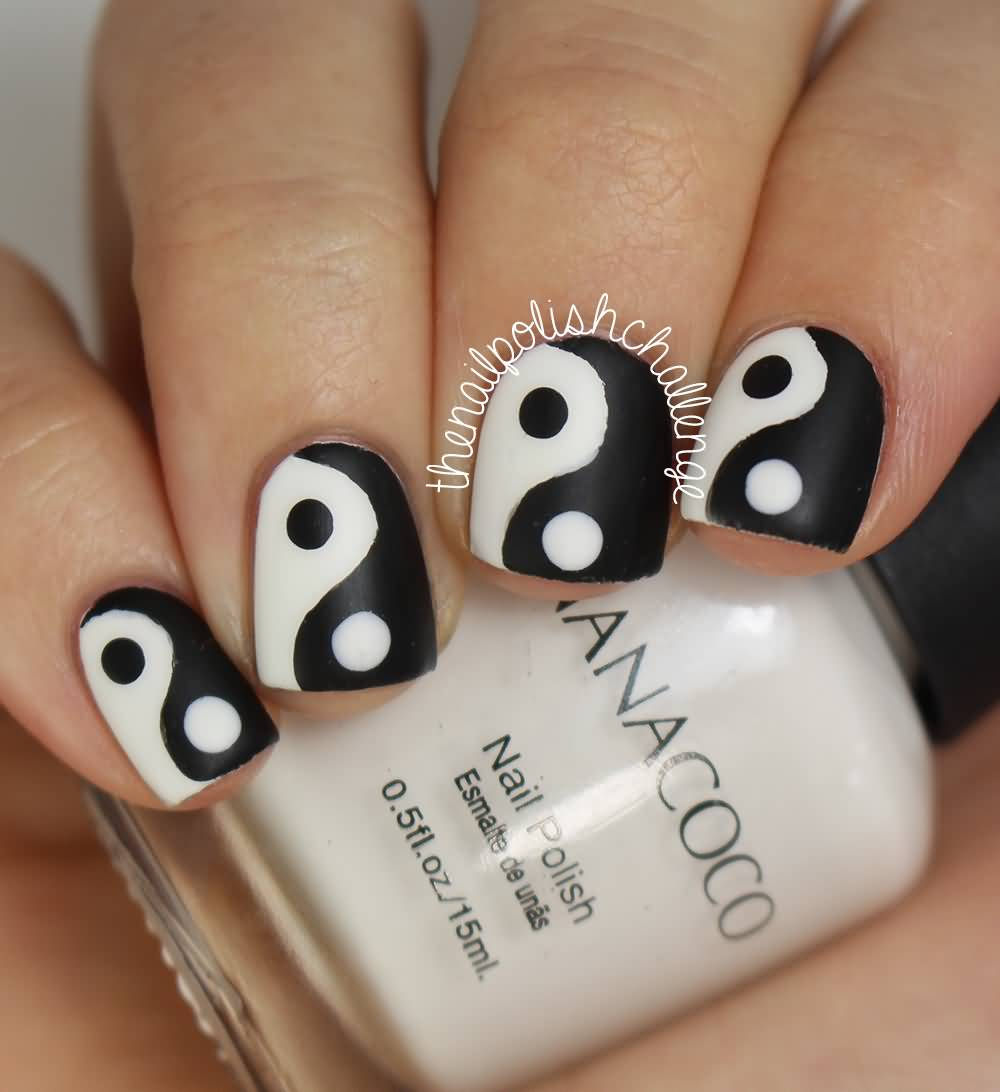 White And Black Yin Yang Nail Art Design Idea