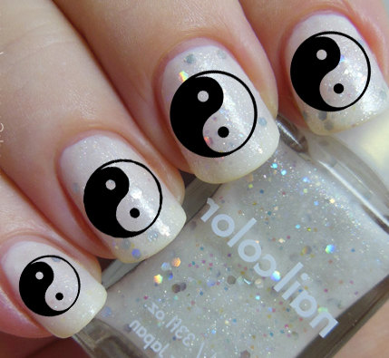 Black And White Yin Yang Chinese Nail Art Sticker