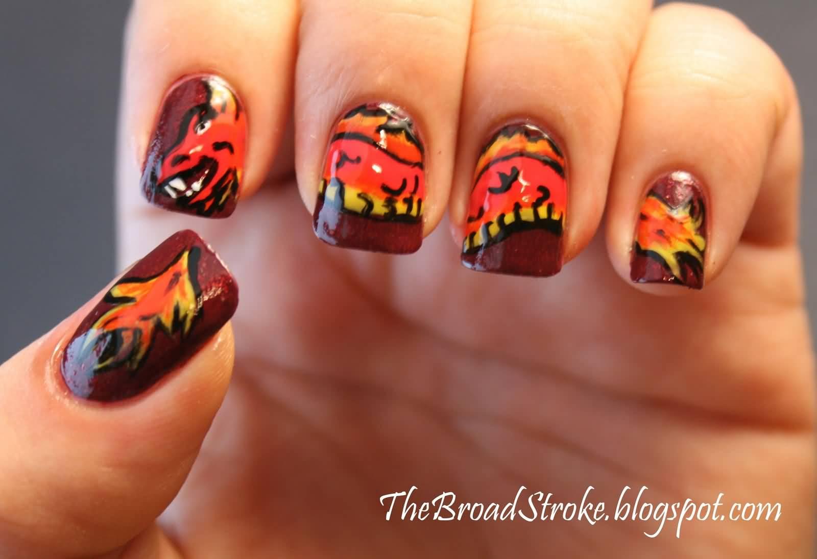 Chinese Dragon Nail Art Idea