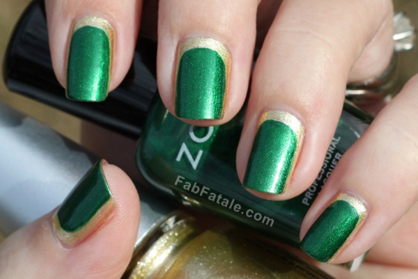 Green Nails With Gold Flowers Nail Art