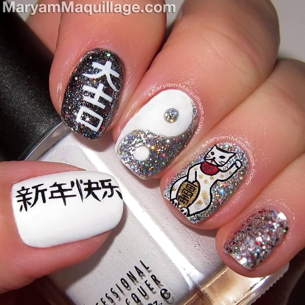 Fortune Cat Yin Yang Sign And Chinese Symbols Nail Art Design