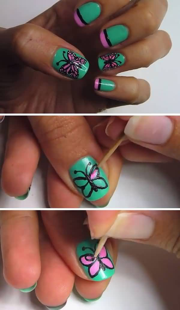 Green Nails With Pink Erfly Nail Art Tutorial