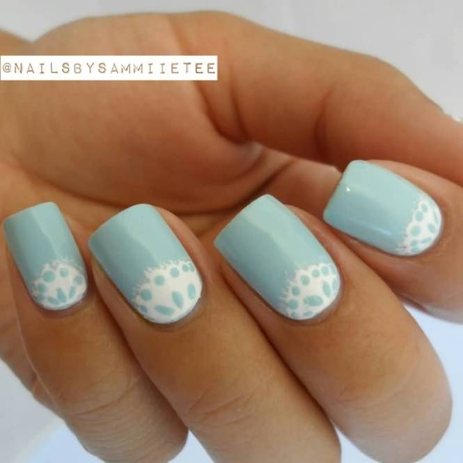 Light Blue Nails With White Lace Design Half Moon Nail Art
