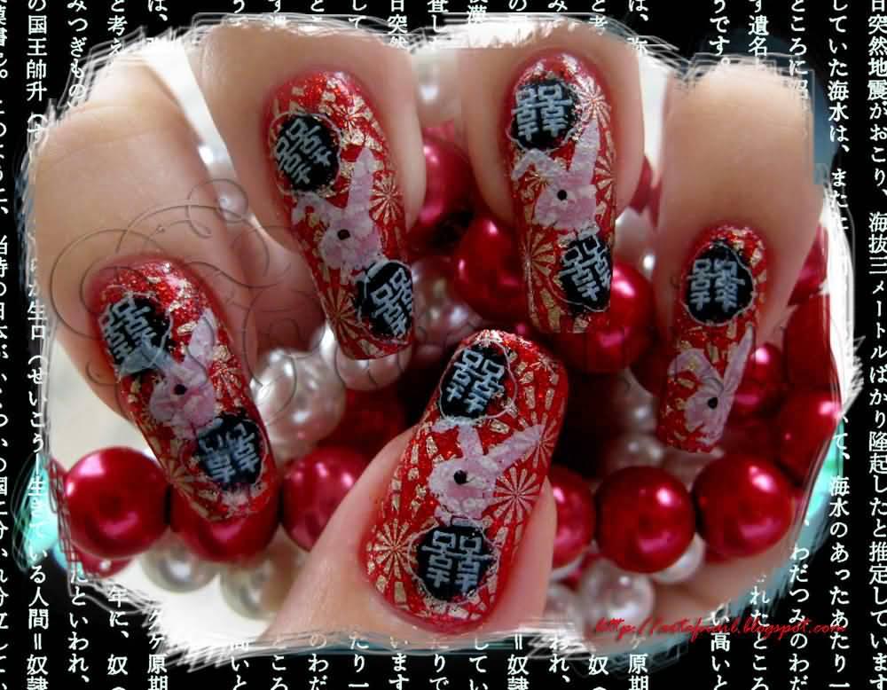 Vine Chinese Nail Art Design Idea