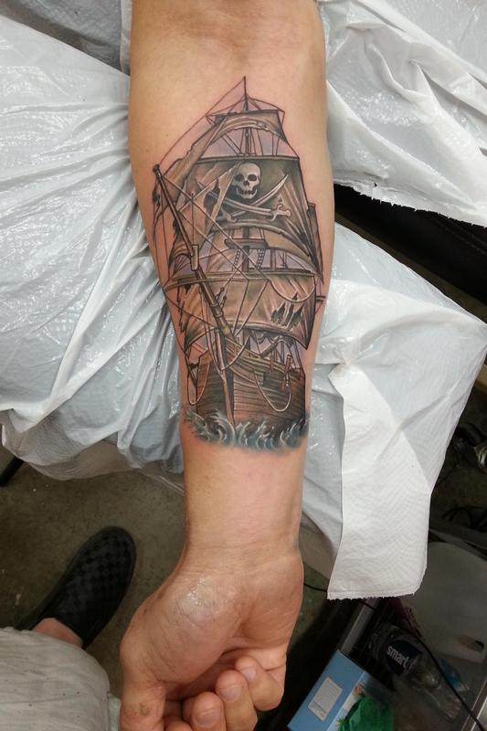 The Pirate Skull On Forearm Tattoos