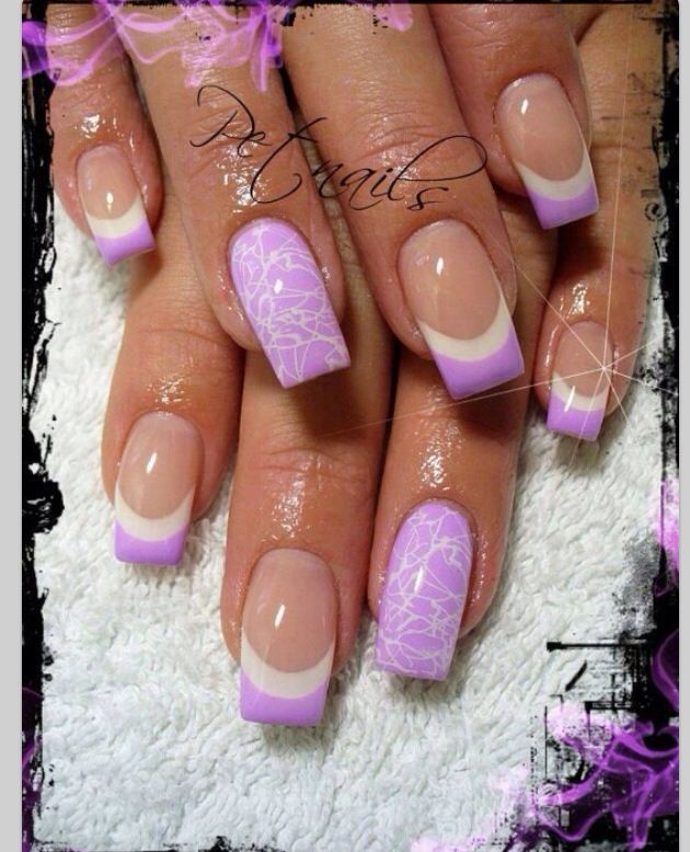 Light Purple And White French Tip Nail Art Design Idea