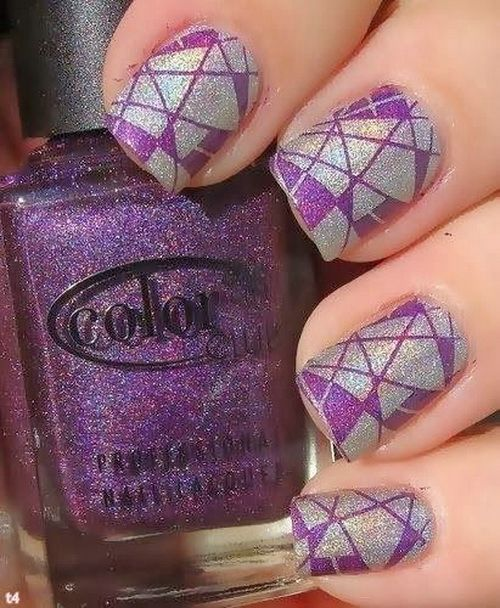 Purple And White Glitter Nail Art