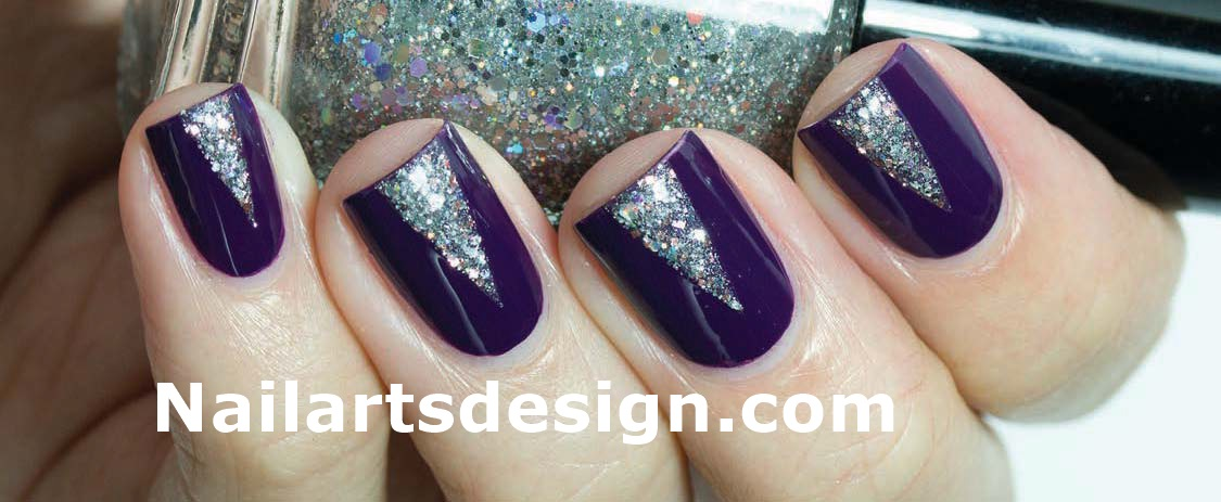 Purple Nails With Silver Triangle Design Nail Art Idea