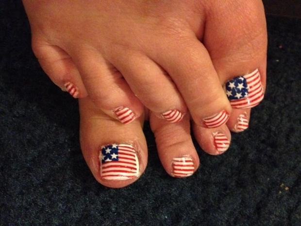 American Flag Toe Nail Art