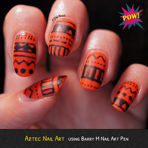 Black And Orange Aztec Print Nail Art