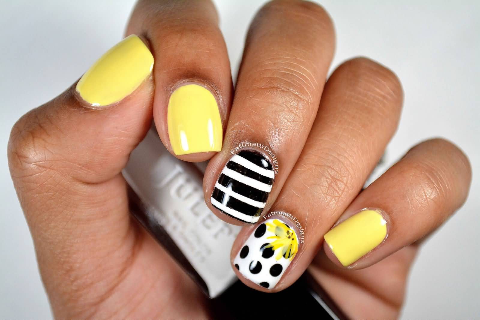 Black And White Polka Dots Nail Art With Yellow Accent Flower Tutorial