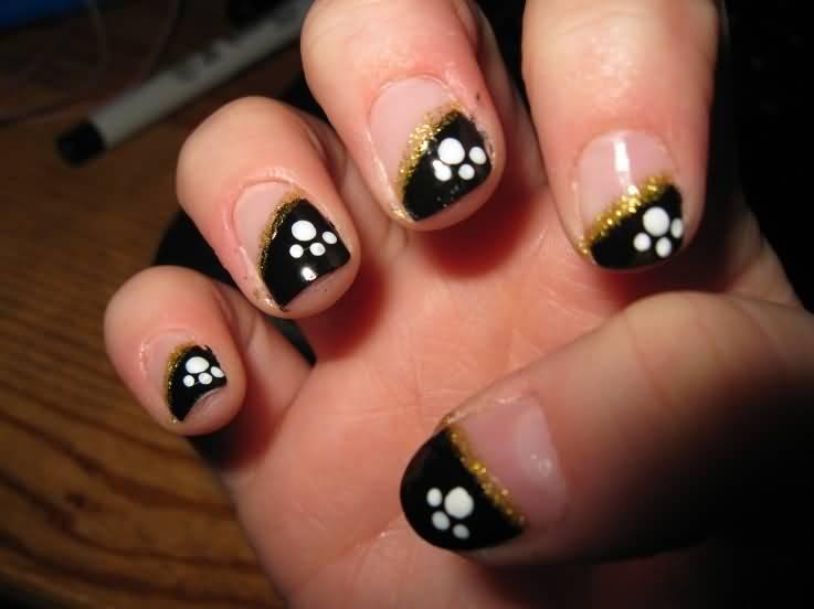 Black Tip And Paw Print Design Short Nail Art
