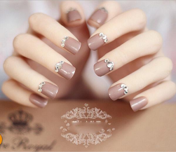 Light Brown Short Nails And Rhinestones Design Nail Art