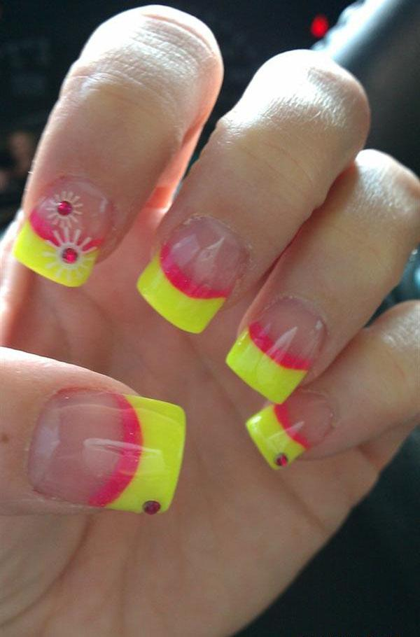 Neon Yellow And Pink Tip Nail Art