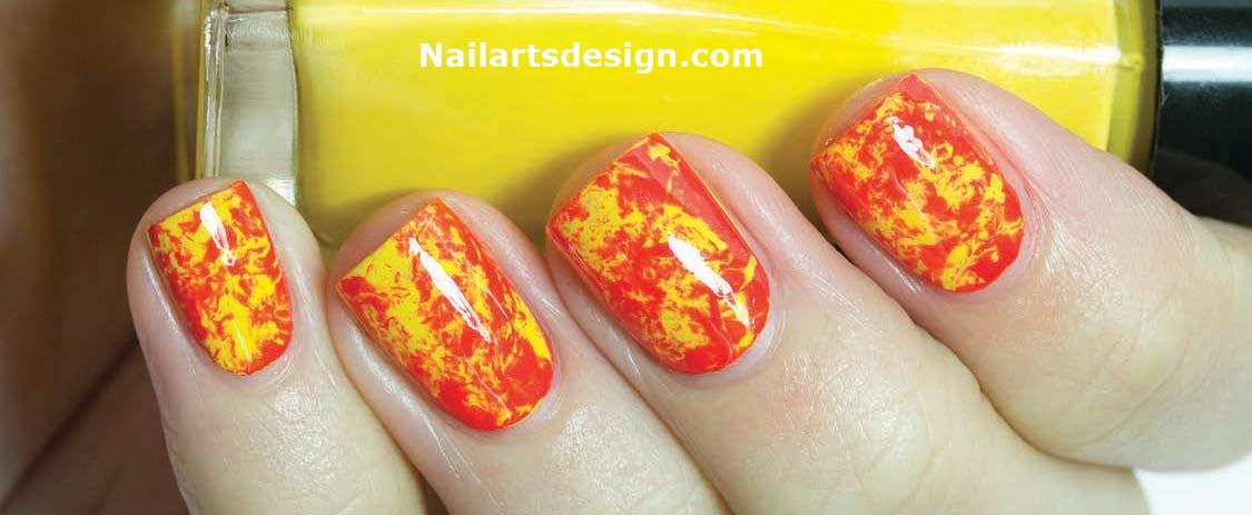 Orange And Yellow Color Splatter Design Nail Art