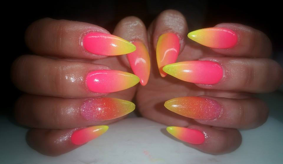 Pink And Yellow Ombre Nail Art