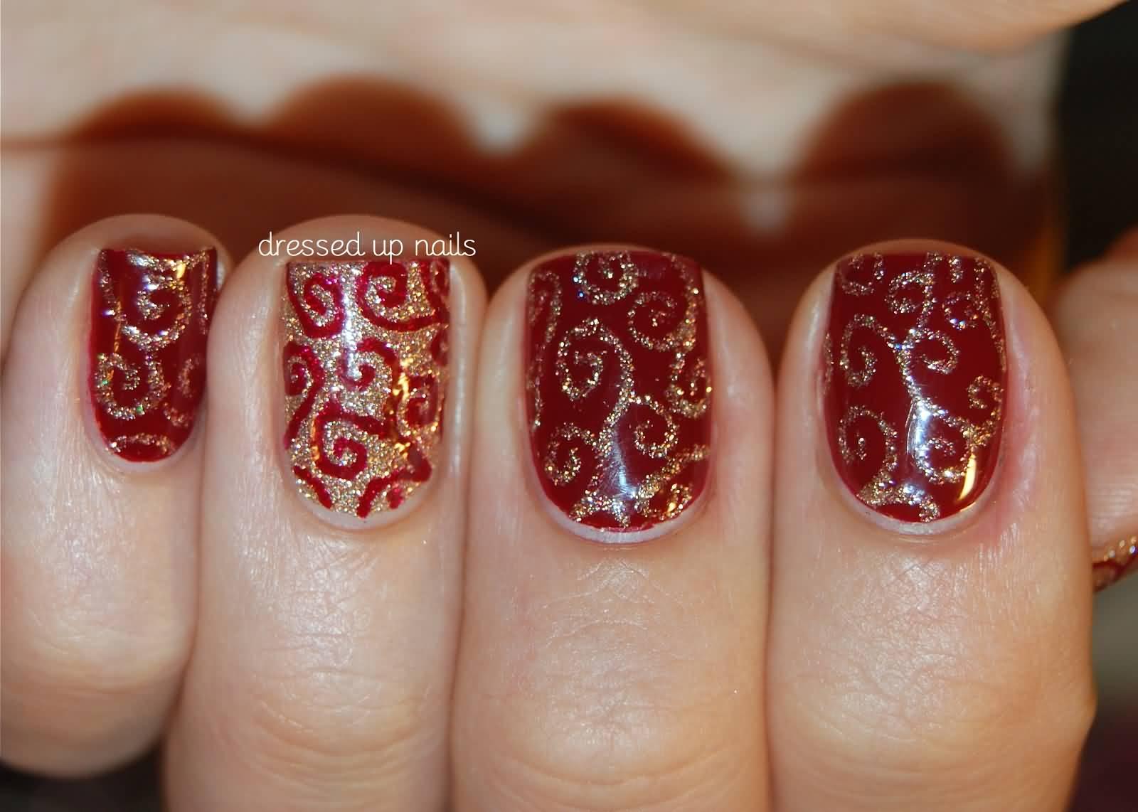 Red And Gold Glitter Gel Swirls Design Nail Art