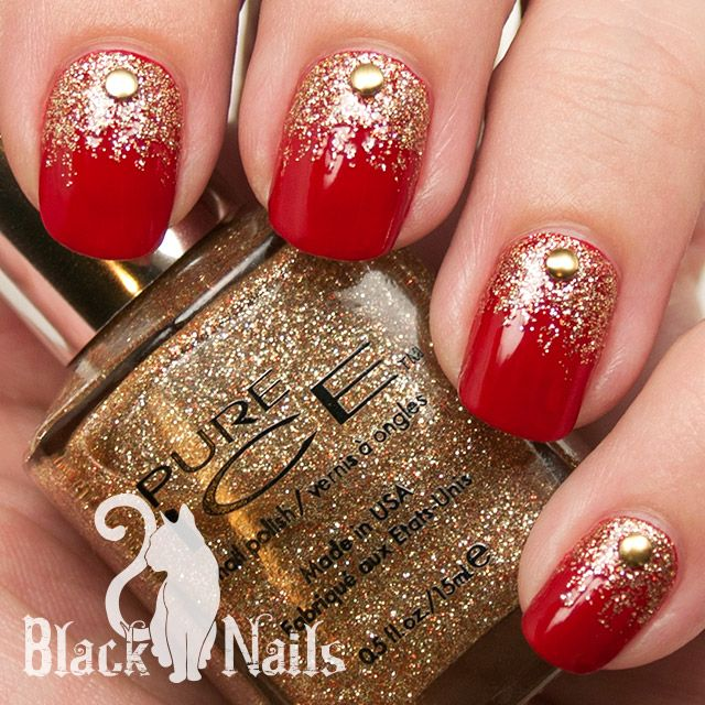 Red And Gold Glitter Nail Art With Caviar Be Design Idea