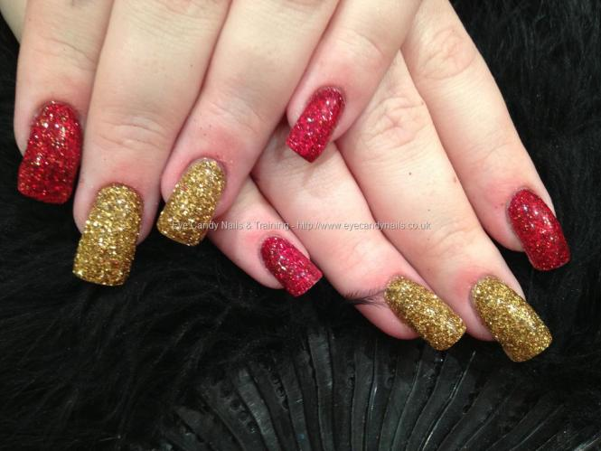 Red And Gold Water Marble Nail Art