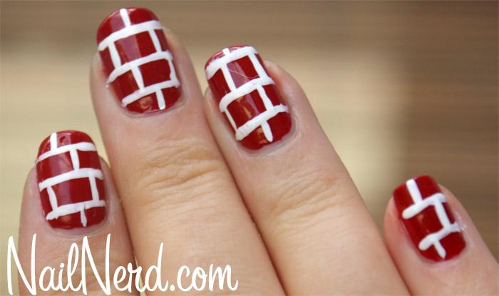 Red And White Bricks Design Nail Art