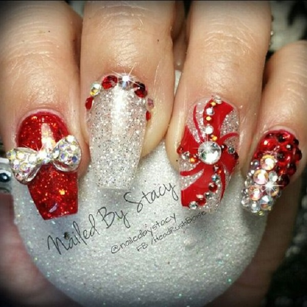 Red And White Gel With Rhinestones 3d Bow Design Christmas Nail Art