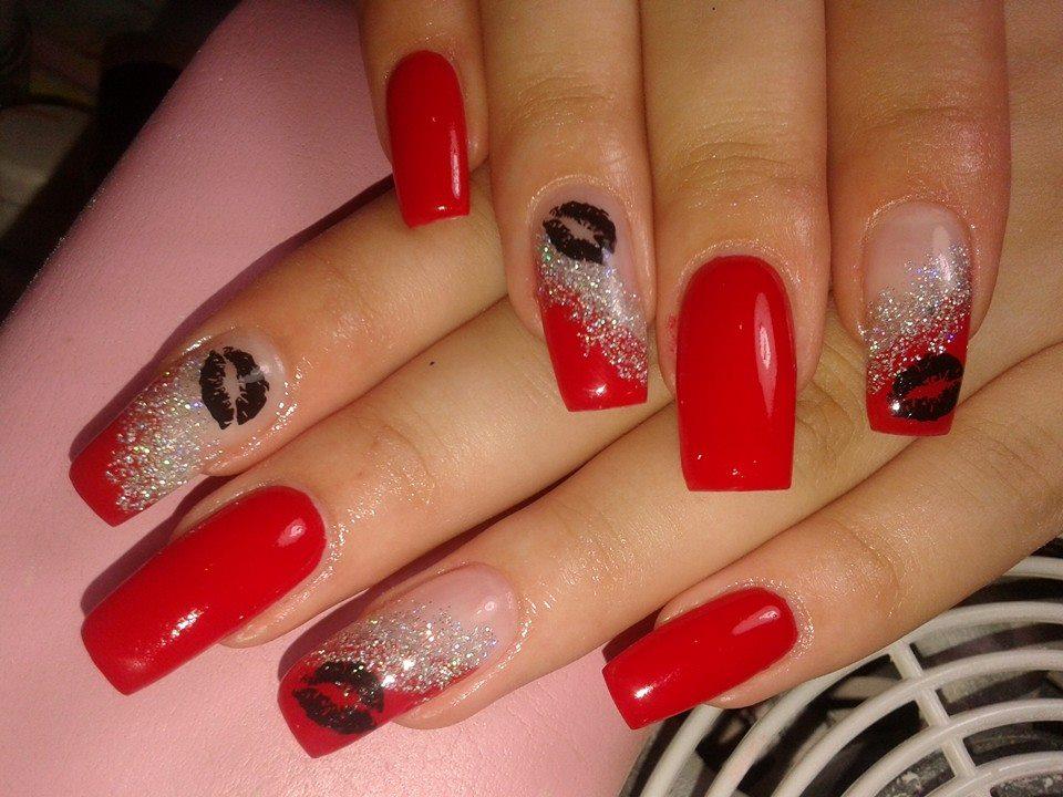 Red And White Glitter Nails With Black Lip Stick Mark Design