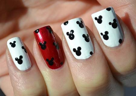 Red And White Nails With Black Mickey Mouse Head Nail Art Design