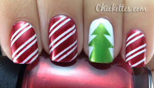 Red And White Stripes With Green Christmas Tree Nail Art