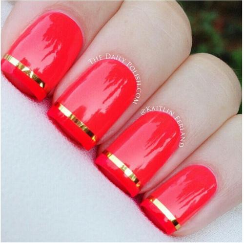 Long Red Nail Art With Rhinestones Design Idea