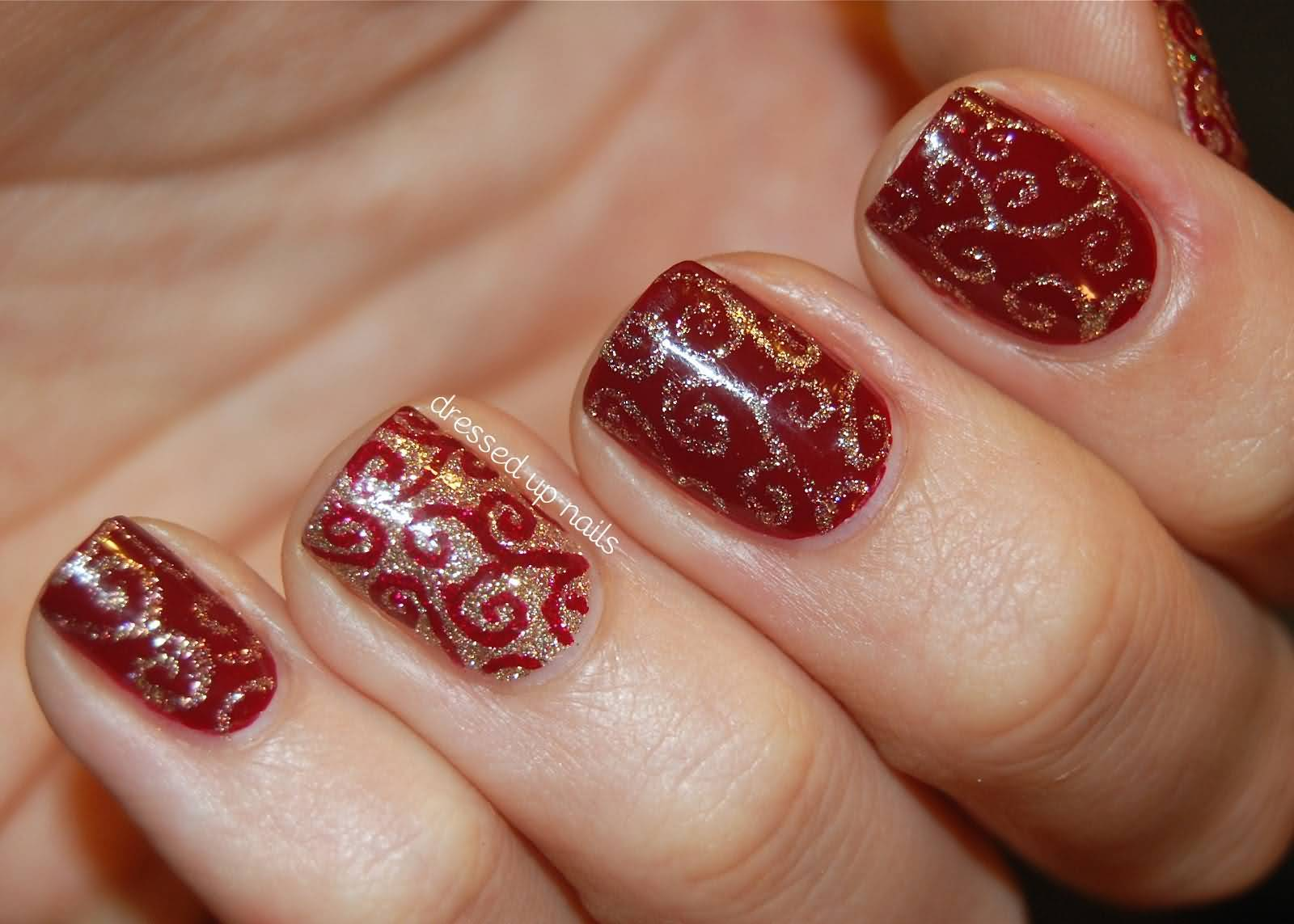 Red Nails With Gold Glitter Gel Swirls Design Nail Art