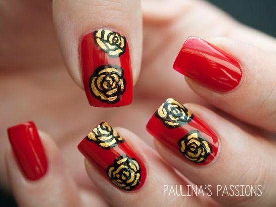 Red Rose Nails Elegant Flower Nail Art Design Tutorial