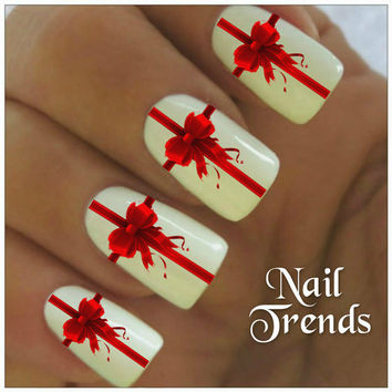 White Nails And Red Bow Design Christmas Nail Art