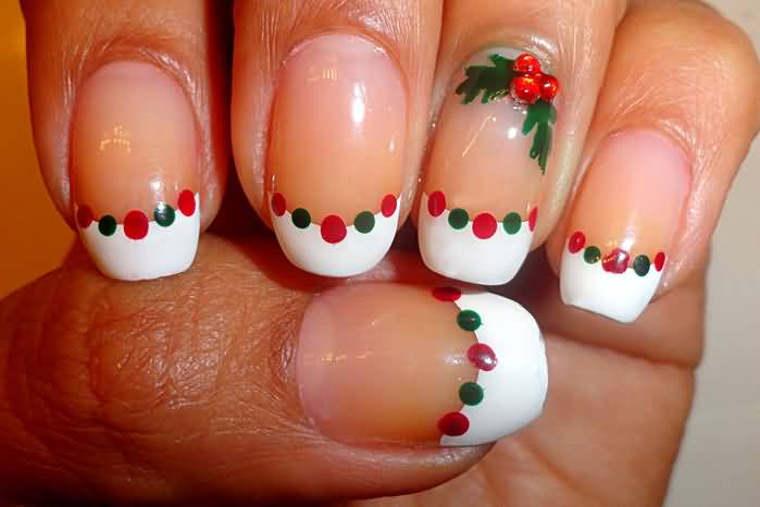 White Tip Nails With Green And Red Dots Christmas Nail Art
