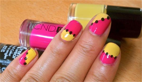 Yellow And Pink Nails With Black Caviar Be Design Nail Art