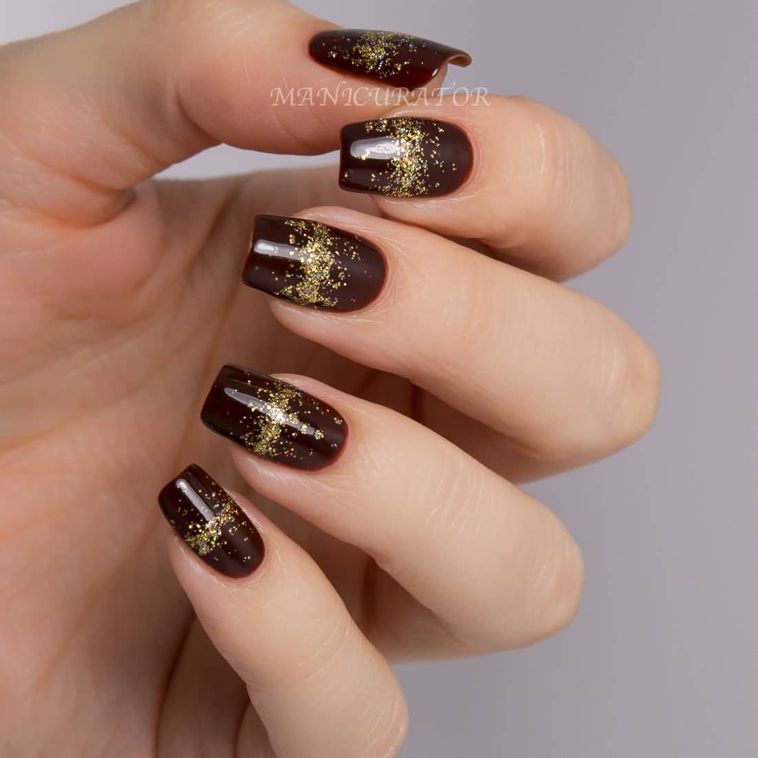 Glossy Brown And Gold Glitter Design Nail Art