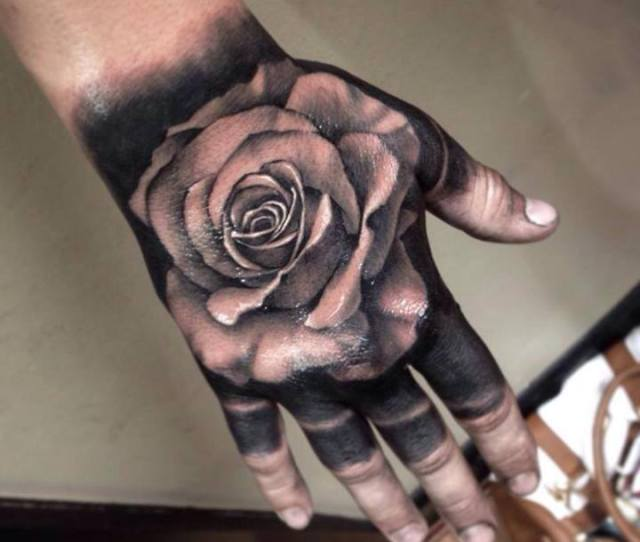 Black Realistic Rose Tattoo On Hand For Men